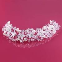 thumb-Elegant Bloemen Haar Sieraad met Parels en Kristallen-3