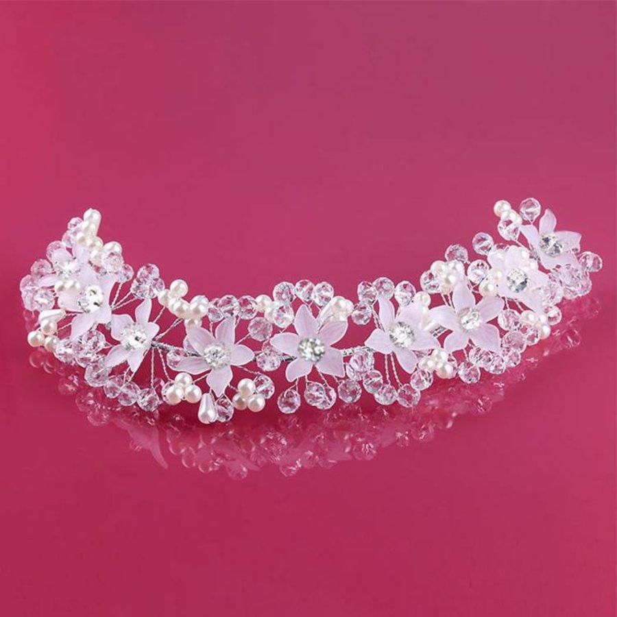Elegant Bloemen Haar Sieraad met Parels en Kristallen-3
