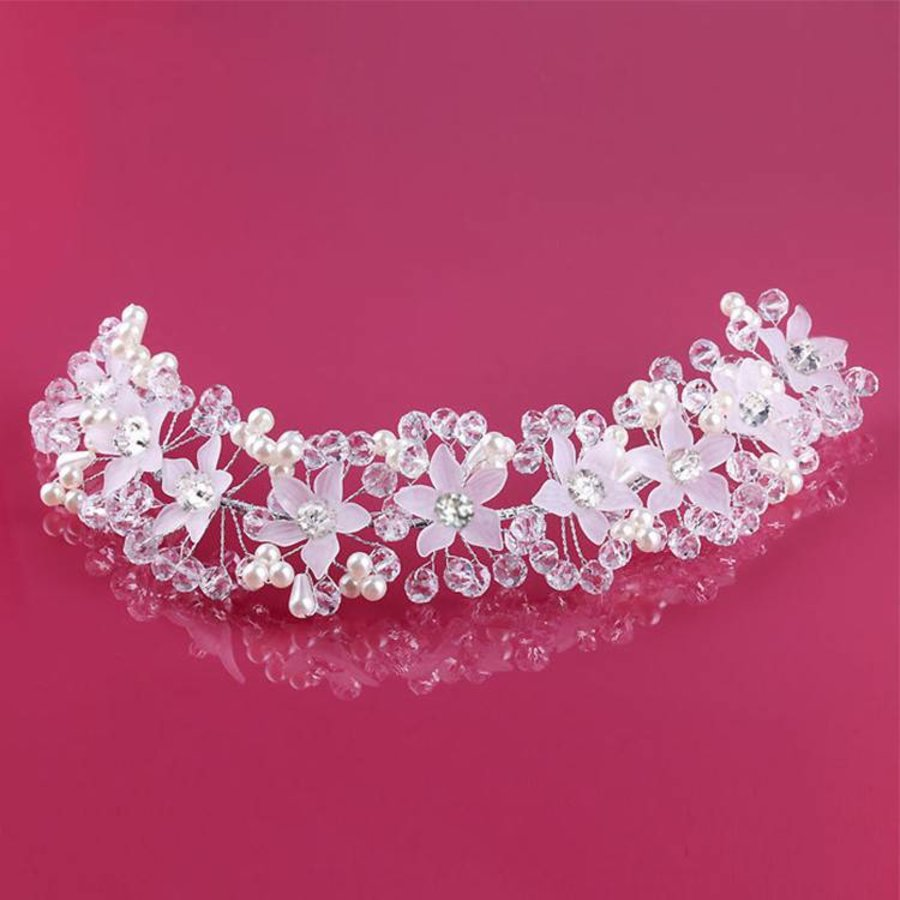 PaCaZa - Elegant Bloemen Haar Sieraad met Parels en Kristallen-2