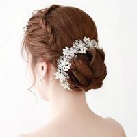 thumb-PaCaZa - Elegant Bloemen Haar Sieraad met Parels en Kristallen-3