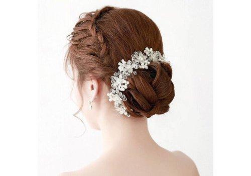 Elegant Bloemen Haar Sieraad met Parels en Kristallen