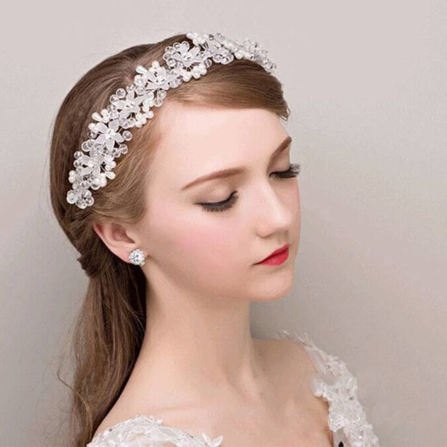 PaCaZa - Elegant Bloemen Haar Sieraad met Parels en Kristallen-1