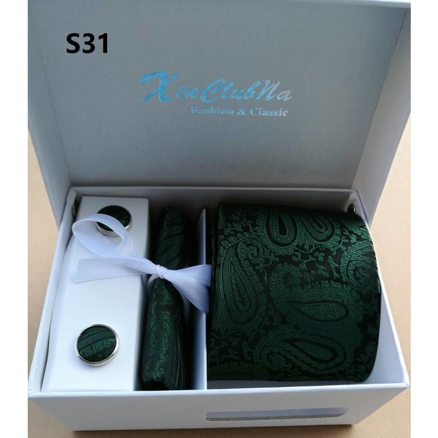 Elegante Stropdas Set in Geschenkdoos - inclusief Manchetknopen, Pochet en Dasspeld - S31 - Groen-4