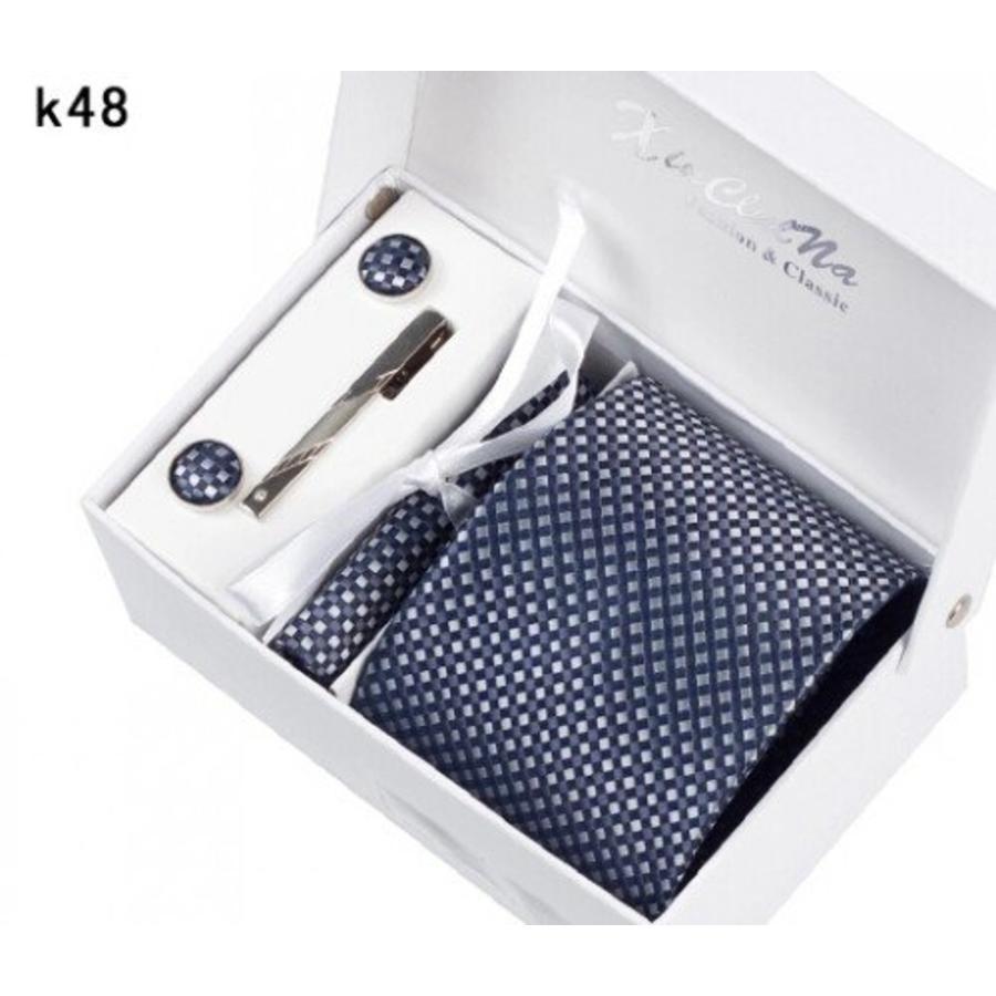 Elegante Stropdas Set in Geschenkdoos - inclusief Manchetknopen, Pochet en Dasspeld - K48 - Grijs / Blauw-4