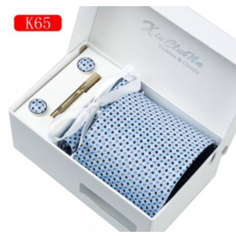 Elegante Stropdas Set in Geschenkdoos - inclusief Manchetknopen, Pochet en Dasspeld - K65 - Blauw-5