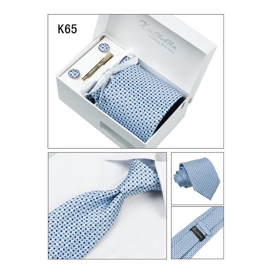 Elegante Stropdas Set in Geschenkdoos - inclusief Manchetknopen, Pochet en Dasspeld - K65 - Blauw-6