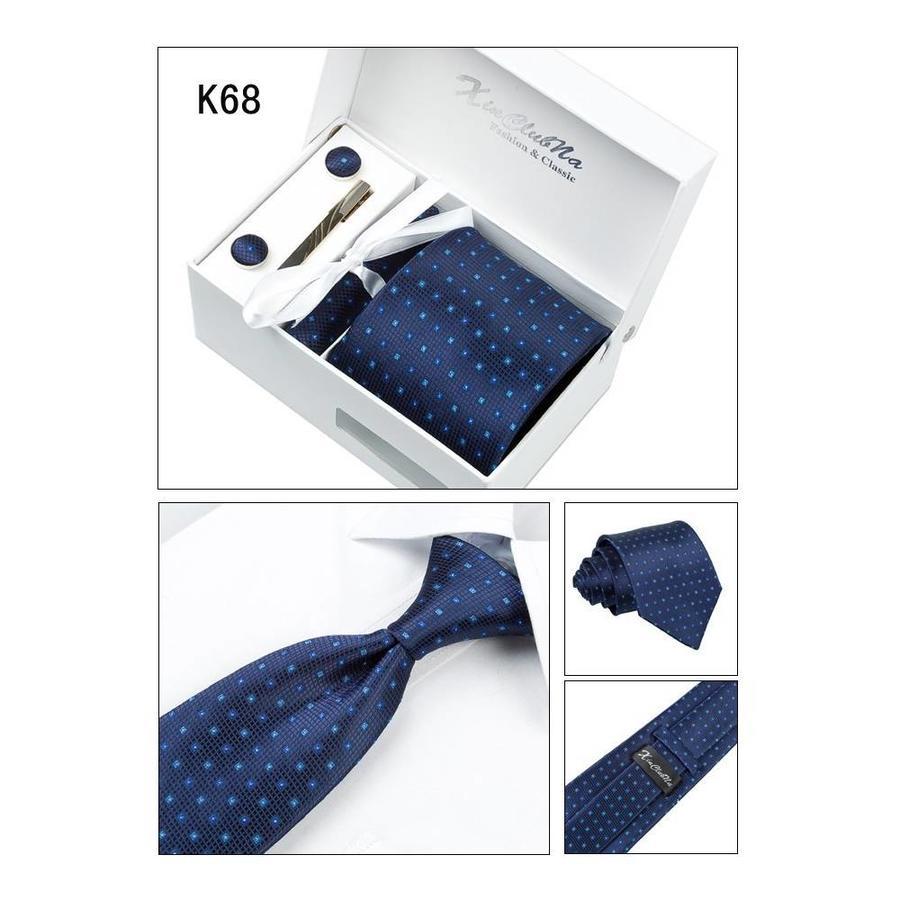 Elegante Stropdas Set in Geschenkdoos - inclusief Manchetknopen, Pochet en Dasspeld - K68 - Donker Blauw-4