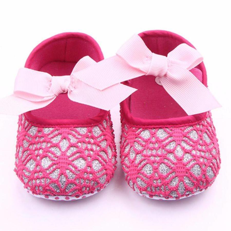 Roze Ballerina's / Babyschoentjes met Glitter - 0 tot 6 maanden-2