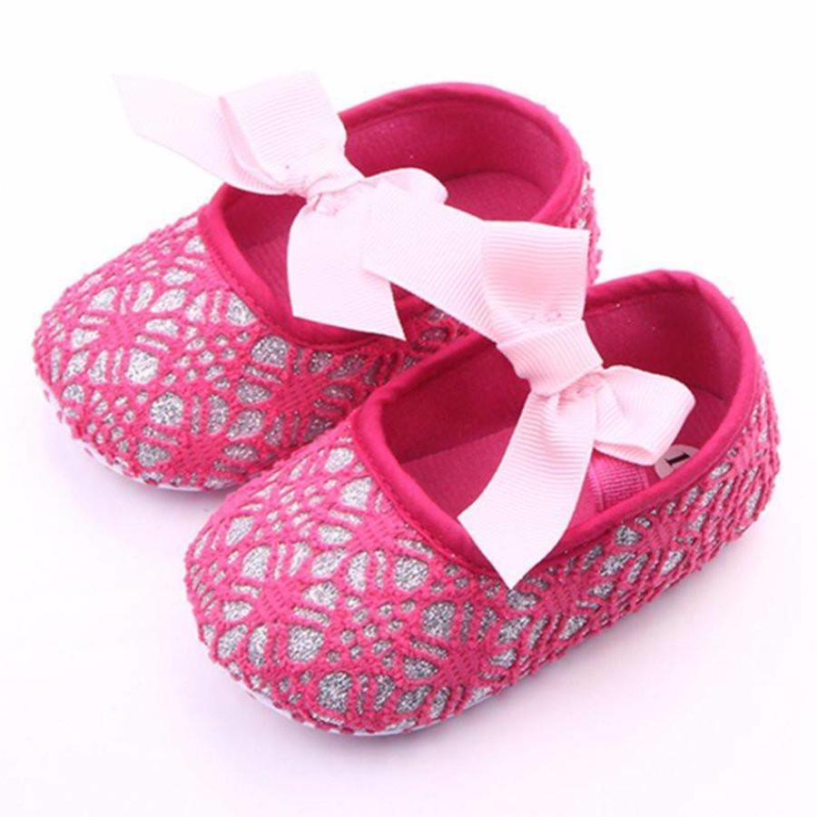 Roze Ballerina's / Babyschoentjes met Glitter - 0 tot 6 maanden-3