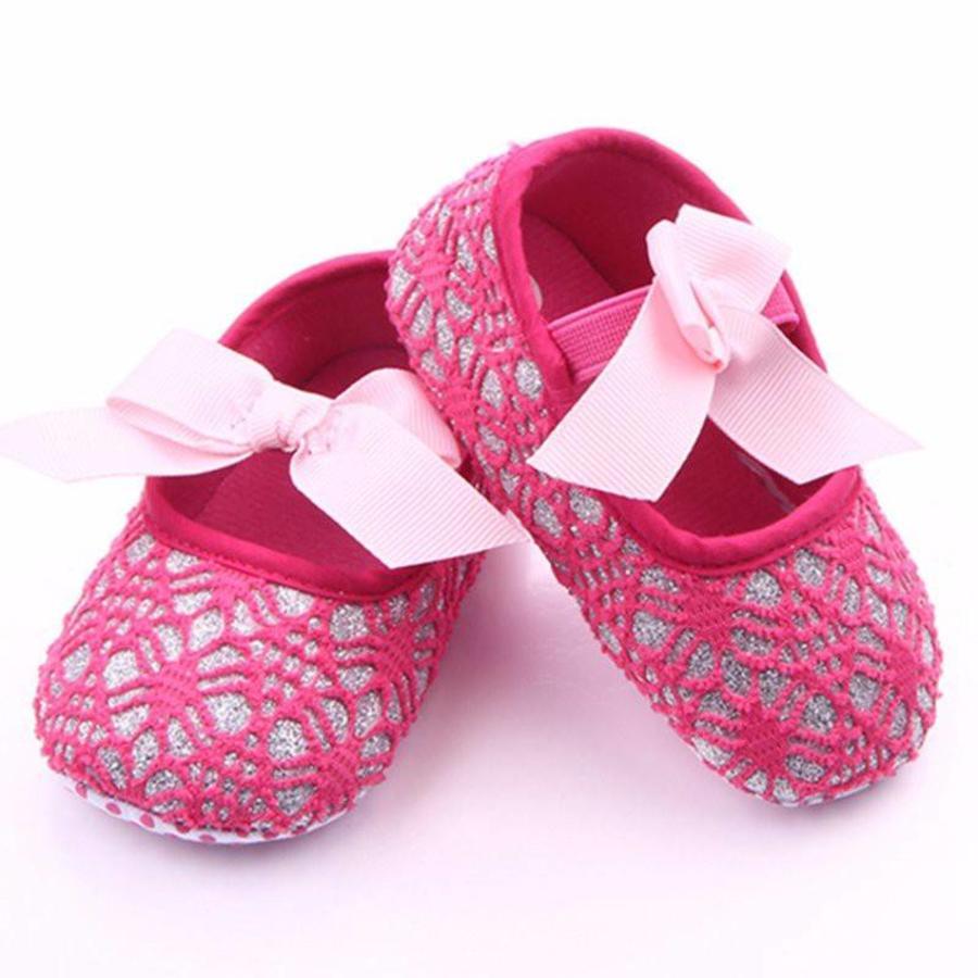 Roze Ballerina's / Babyschoentjes met Glitter - 0 tot 6 maanden-1
