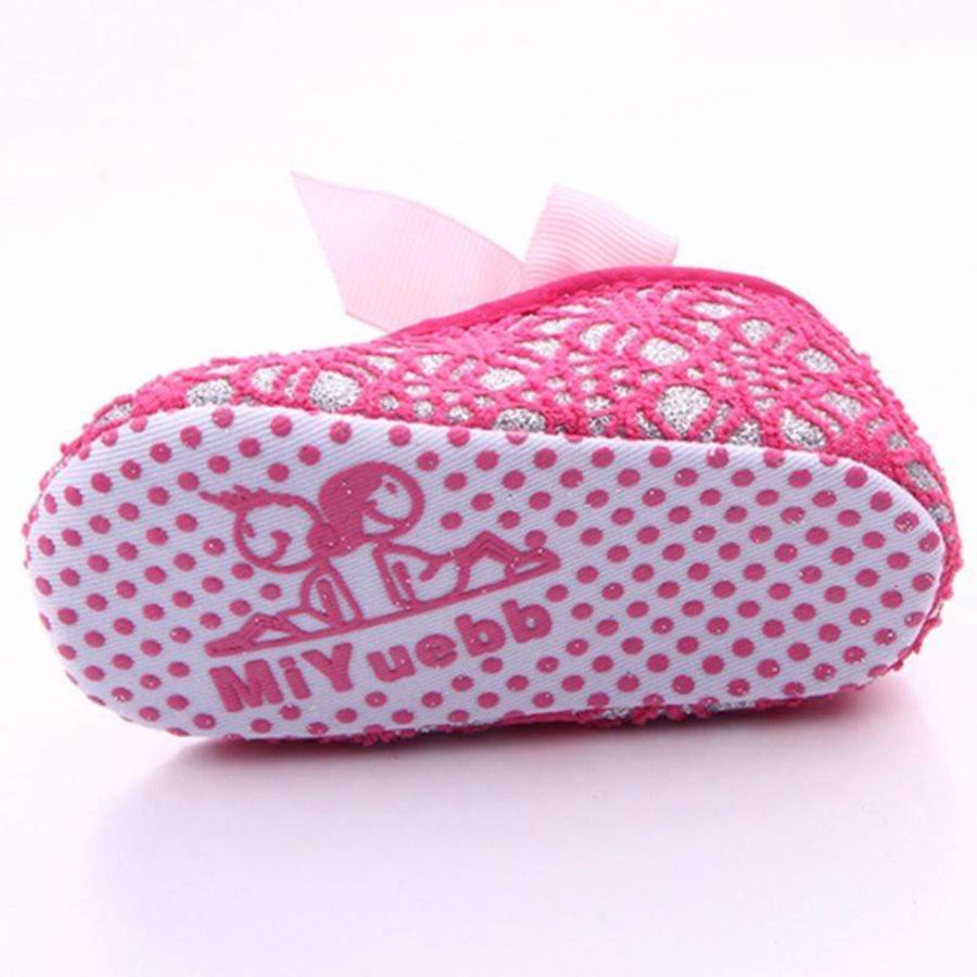 Roze Ballerina's / Babyschoentjes met Glitter - 0 tot 6 maanden-6