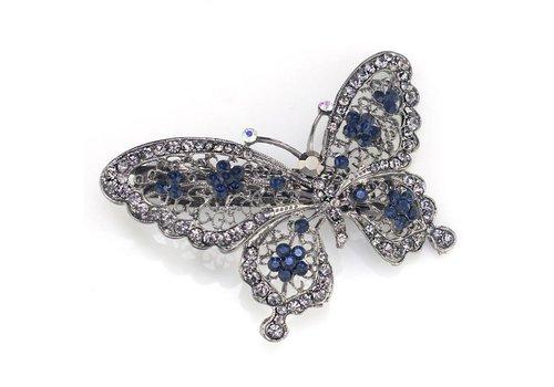 Fonkelende Vlinder Haarclip - Blauw