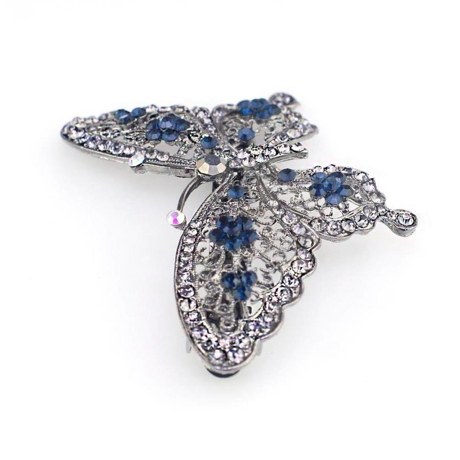 Fonkelende Vlinder Haarclip - Blauw-2