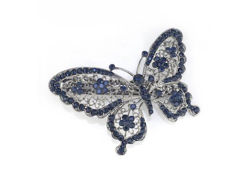 Fonkelende Blauwe Vlinder Haarclip