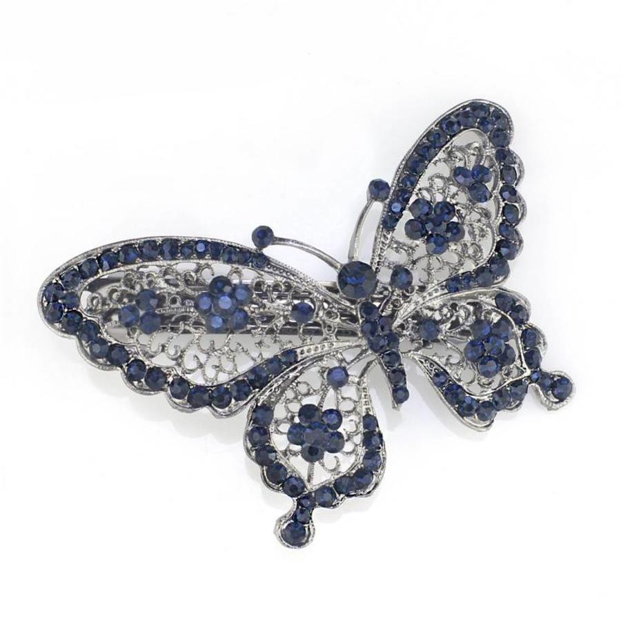 Fonkelende Blauwe Vlinder Haarclip-1