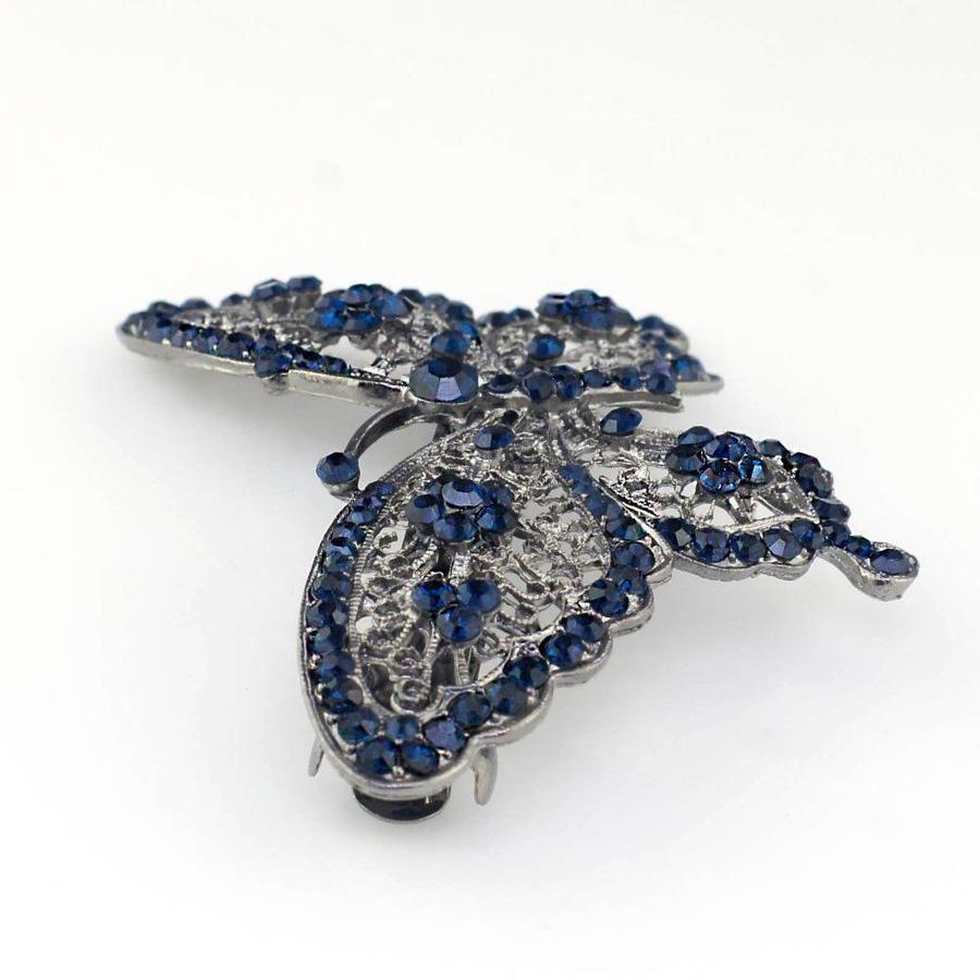 Fonkelende Blauwe Vlinder Haarclip-2