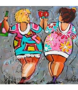 """Vrolijk Schilderij Kunstdruk 2 cm """"Vrolijk duo"""""""