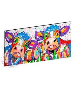 """Vrolijk Schilderij Kunstdruk 2 cm """" Koeien Tulpen """" 120 x 60"""