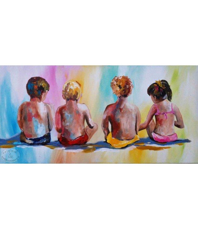 """Vrolijk Schilderij 100 x 50 cm schilderij """" Kids """""""