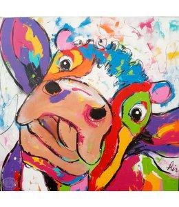 """Vrolijk Schilderij 100 x 100 cm schilderij """" Gekke koe"""""""