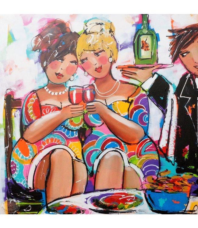 """Vrolijk Schilderij 100 x 100 cm schilderij """" Tafelen"""""""