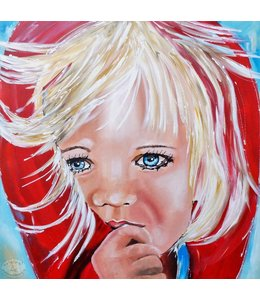 """Vrolijk Schilderij 70 x 70 Schilderij """"Meisje"""""""