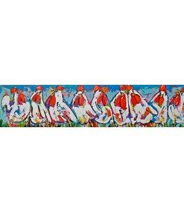 """Vrolijk Schilderij 200 x 50 """"kippen op een rij"""""""