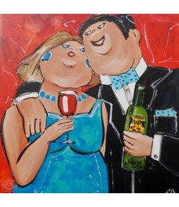 """Vrolijk Schilderij 100 x 100 cm schilderij """" Gezelligheid"""""""