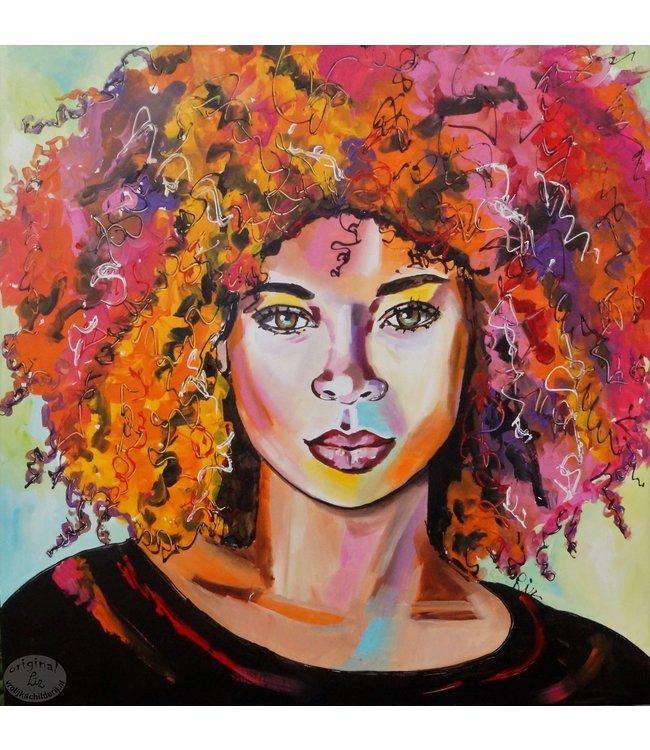 """Vrolijk Schilderij 80 x 80  """"kleurrijke krullebol"""""""