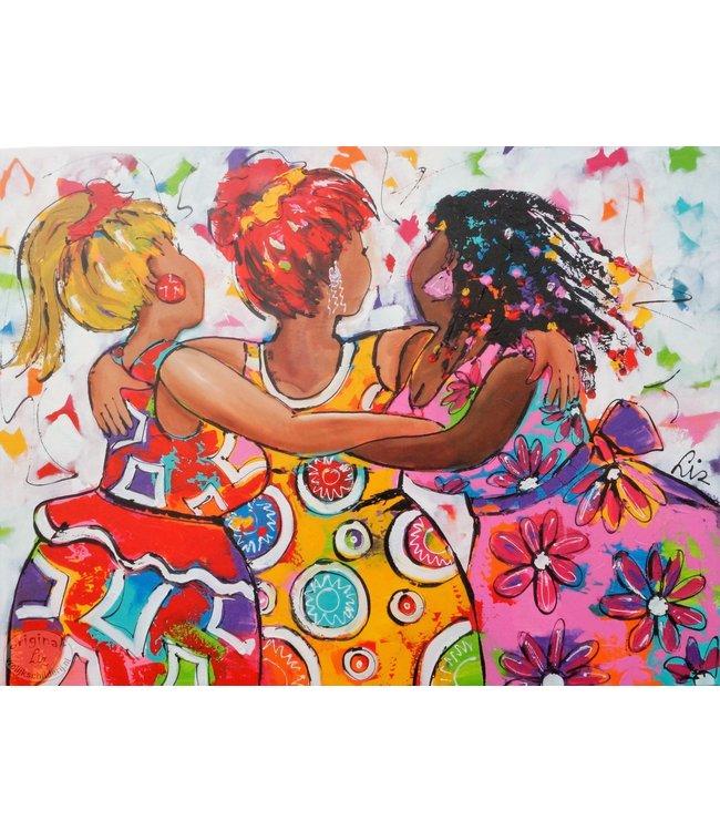 """Vrolijk Schilderij 120 x 90 cm schilderij  """"Vriendschap"""""""