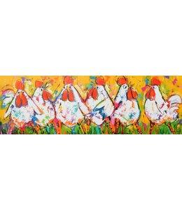 """Vrolijk Schilderij 150 x 50 cm schilderij  """"Kippen geel"""""""