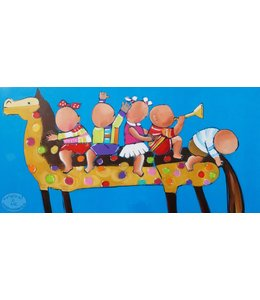 """Vrolijk Schilderij 120 x 60 cm schilderij  """"Kids op paard"""""""