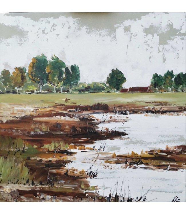 """Vrolijk Schilderij 60 x 60 cm schilderij  """"Landschap"""""""