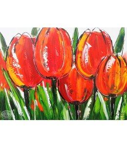 """Vrolijk Schilderij 80 x 60 cm schilderij  """"Tulpen"""""""