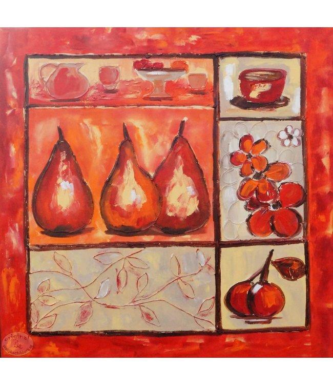 """Vrolijk Schilderij 90 x 90 cm schilderij  """"Fruit"""""""