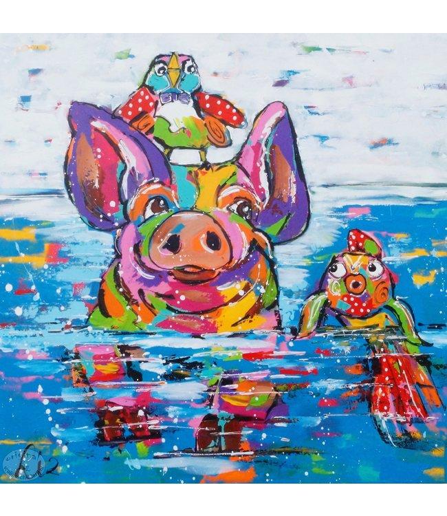 """Vrolijk Schilderij 80 x 80 cm schilderij  """"Varken in zee"""""""