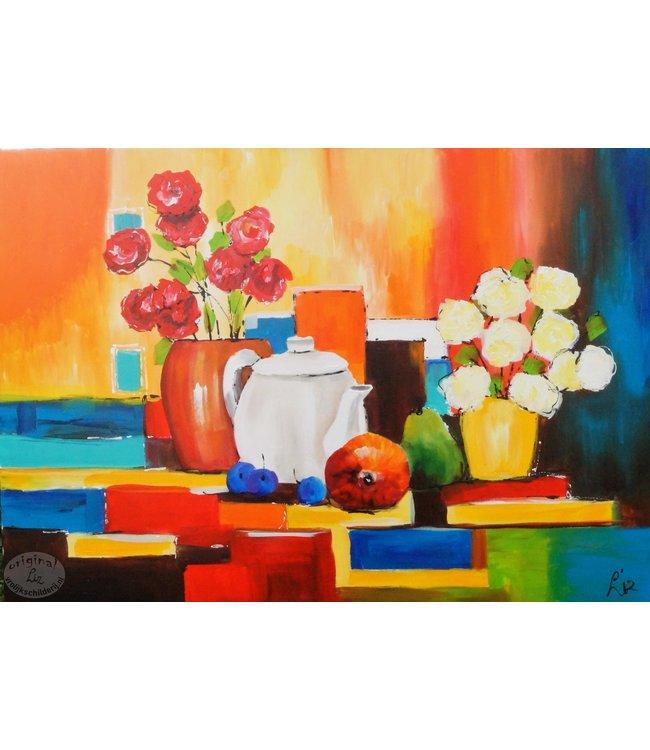 """Vrolijk Schilderij 100 x 70 cm schilderij  """"Stilleven"""""""