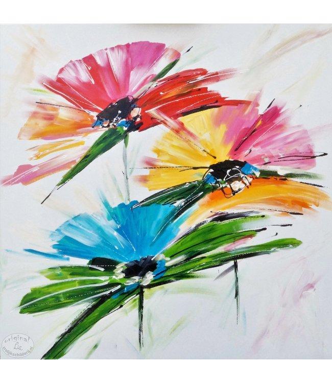 """Vrolijk Schilderij 60 x 60 cm schilderij  """"Flowers"""""""