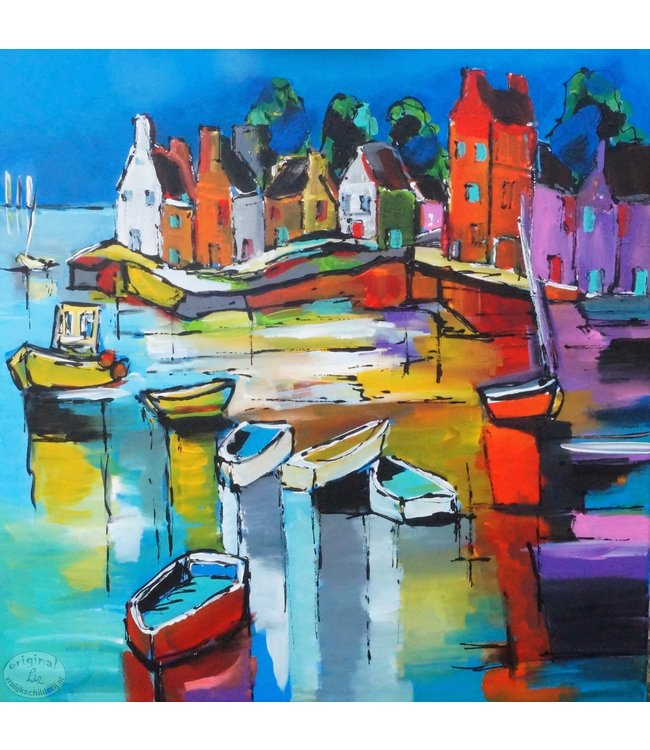"""Vrolijk Schilderij 60 x 60 cm schilderij  """"Landschap aan zee"""""""