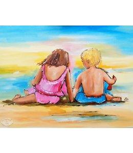 """Vrolijk Schilderij 80 x 60 cm schilderij  """"Spelen"""""""