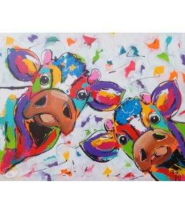 """Vrolijk Schilderij 100 x 80 cm schilderij  """"kiekeboe""""  Verkocht"""