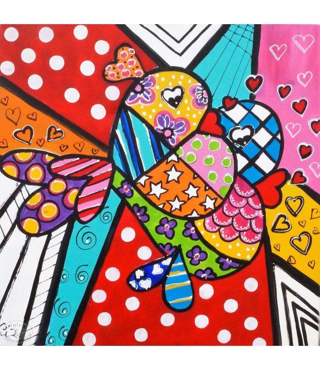 """Vrolijk Schilderij 80 x 80 cm schilderij  """"Love"""""""