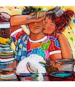 """Vrolijk Schilderij 60 x 60 cm schilderij  """"Afwas"""""""