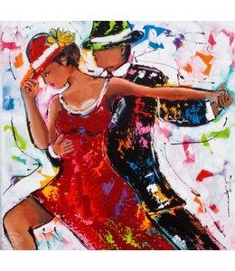 """Vrolijk Schilderij 60 x 60 cm schilderij  """"Danspaar"""""""