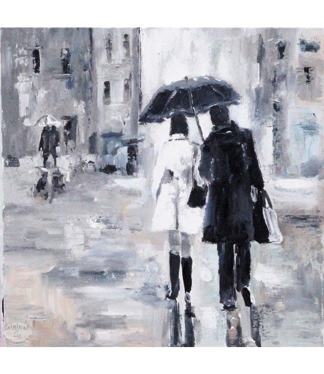 """Vrolijk Schilderij 60 x 60 cm schilderij  """"Rain"""""""
