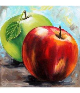 """Vrolijk Schilderij 50 x 50 cm schilderij  """"Appels"""""""