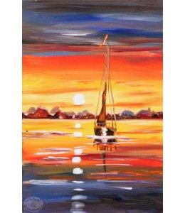 """Vrolijk Schilderij 40 x 60 cm schilderij  """"Boot"""""""