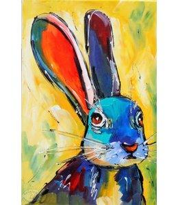 """Vrolijk Schilderij 40 x 60 cm schilderij  """"Haas"""""""