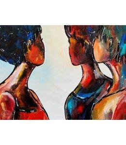 """Vrolijk Schilderij 80 x 60 Schilderij """"People"""""""