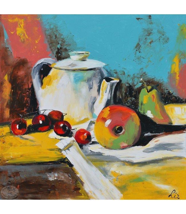 """Vrolijk Schilderij 100 x 100 cm schilderij """" Stilleven I"""""""